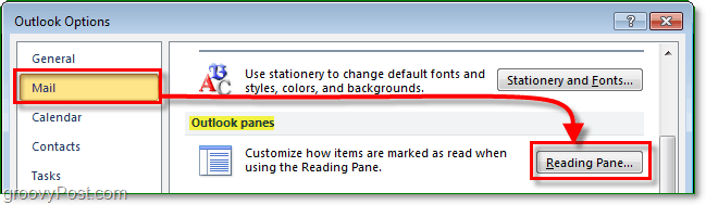 from the outlook 2010 options menu, click mail then click reading pane
