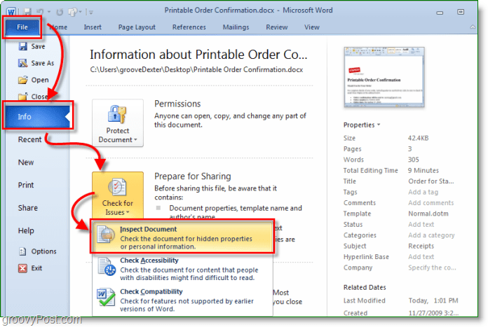how to access the document inspector in microsoft office 2010