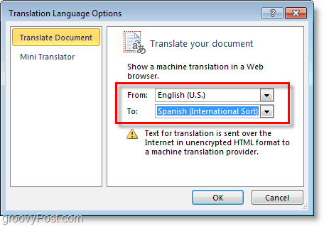 select a language for microsoft word to translate in to