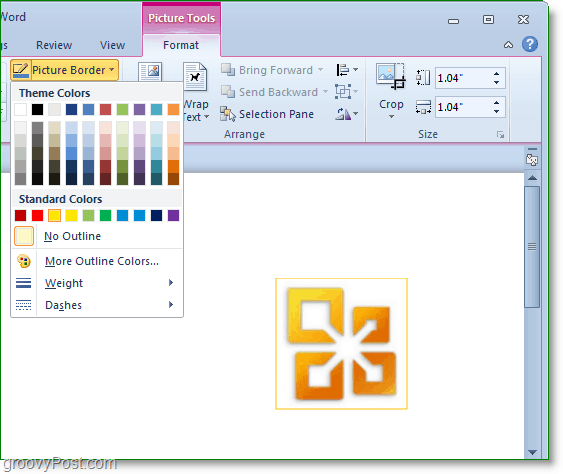 you can create pictore borders in word 2010