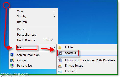 right-click the desktop to create a new shortcut