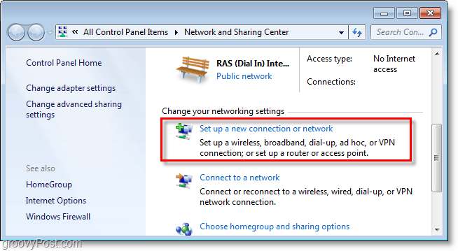 set up a new connection or network in windows 7