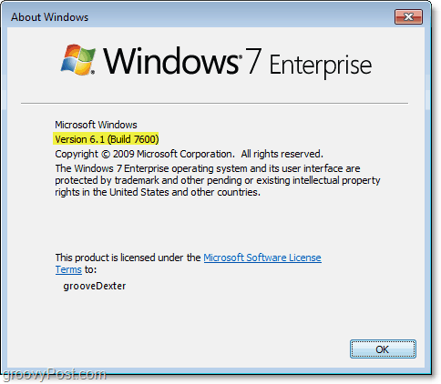 this is my current version 6.1 (build7600) of windows 7