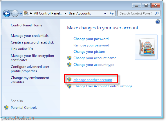 click manage another account from your windows 7 user account page
