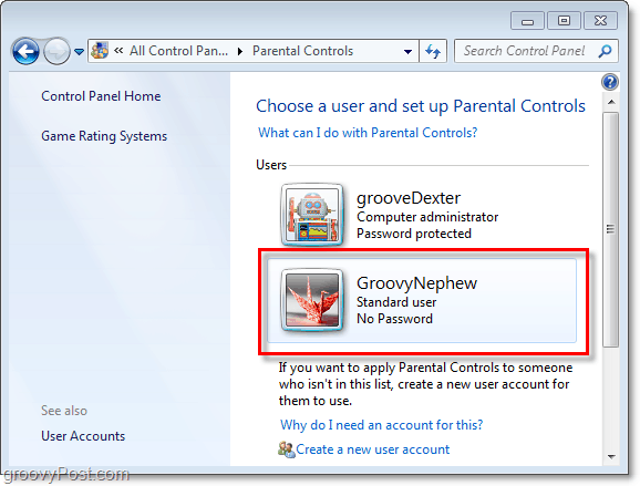 choose a user to adjust parental controls properties for in windows 7