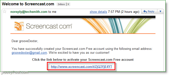 confirm your screencast accoun via email