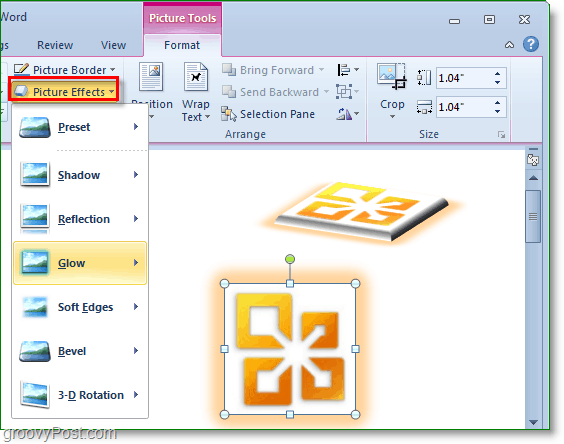 add glow and shadow and 3d rotation effects to word 2010 images