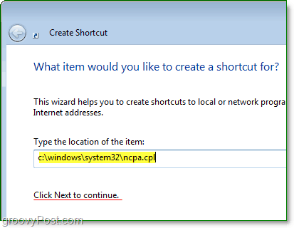 use c:windows system32ncpa.cpl as your file path to quickly open network connections