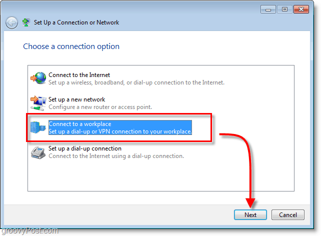 connect to a workplace, vpn, in windows 7