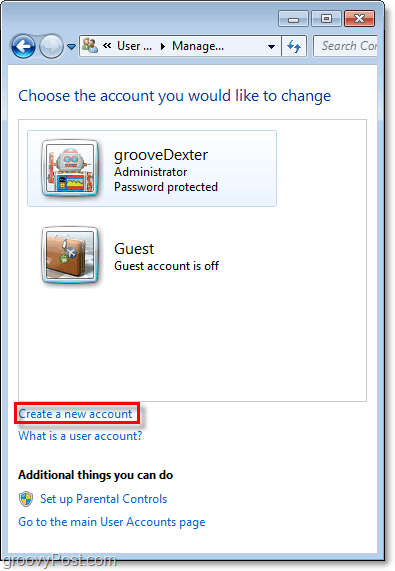 from the windows 7 accounts overview page use the link to create a new account