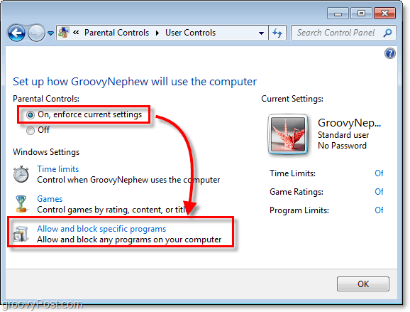 turn on parental controls in windows 7 for a specific user and then allow and block specific programs