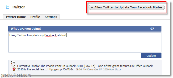 post to twitter from facebook or allow twitter to update your profile status from twitter