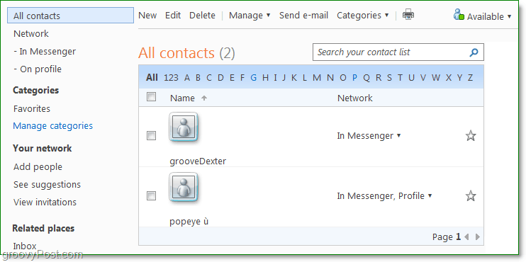 manage your contacts using windows live people