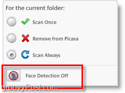 disable face scanner and facial recognition in picasa