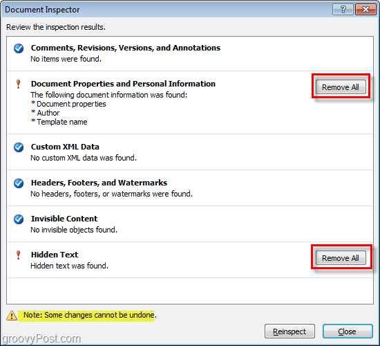 use the remove all button to remove document properties and personal information and hidden text from microsoft office files