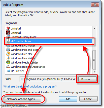 how to manually add a program to the firewall list