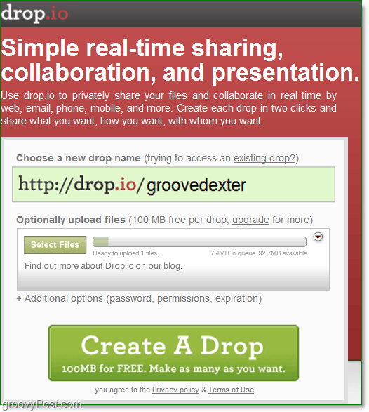 how to sign up for free online collaboration using drop.io