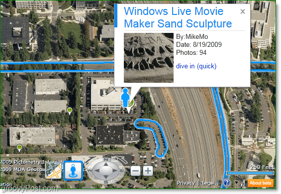follow the blue lines to see where streetside is available, and watch for green pins for Photosynth hotspots