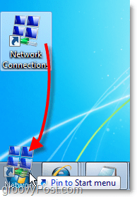 drag the shortcut from the desktop to the start menu for network connections in windows 7 easy access