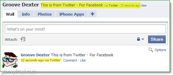 a look at a facebook profile where the status has been updated using twitter