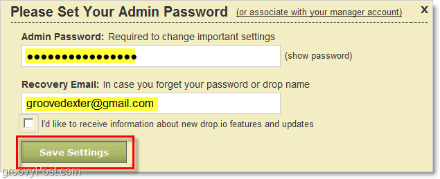 how to set drop.io admin password