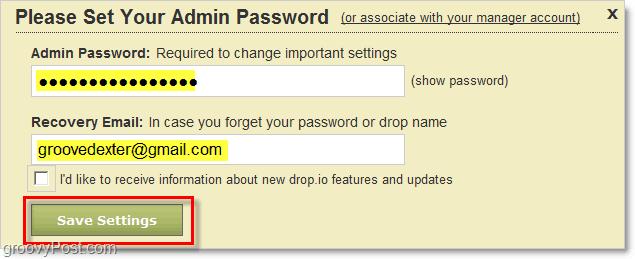 how to set drop.io admin password