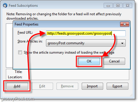 enter your feed URL from the add button in feed properties to