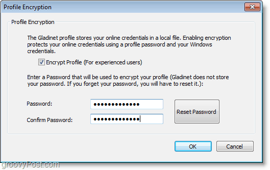 create a password for local gladinet profile