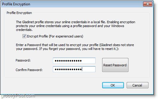 create a password for local gladinet profile