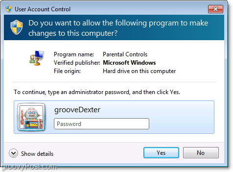 you can override a parental control restrcition in windows 7 by entering an administrator password