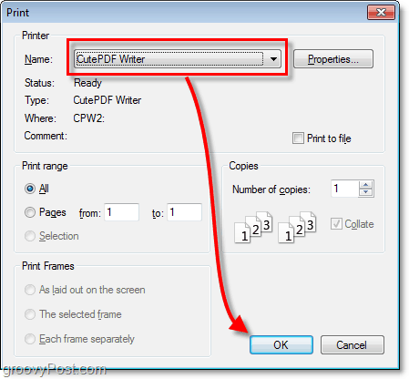 how to save any document as a PDF using the print function and cutepdf