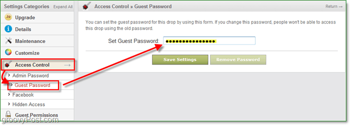 how to change drop.io guest password