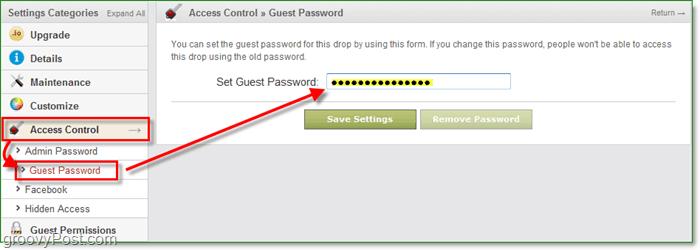 how to change drop.io guest password