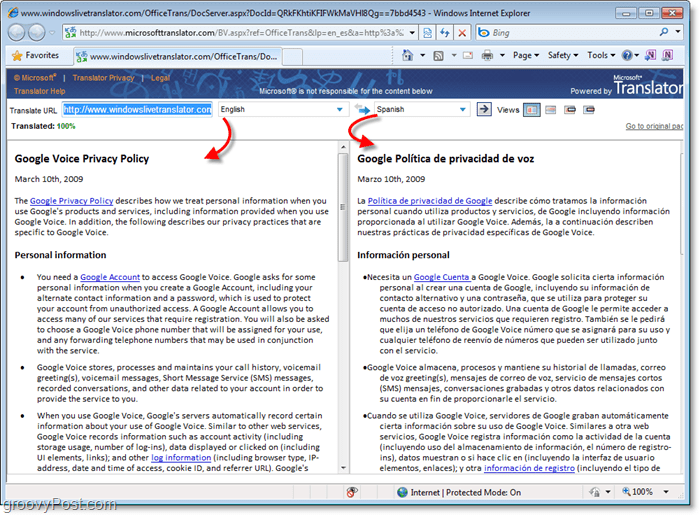 side by side language translation comparison via Office 2010