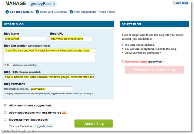manage and create your blog page on skribit