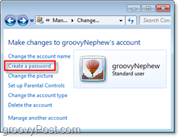 find the prompt to add a password toa  windows 7 user account