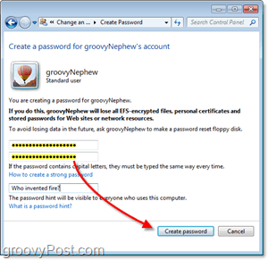 how to create a new password for a windows 7 user account