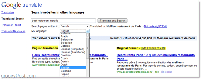 search for internet pages in different languages and read them in your own using translated serach from Google