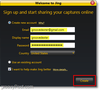 you must use a screencast.com account in order to access jing, its easy to create a free one