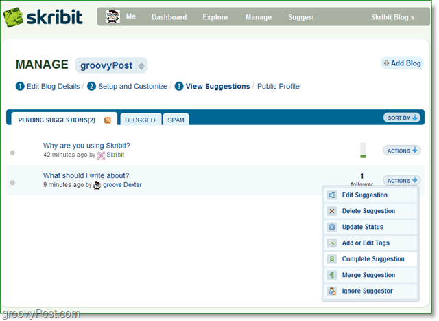 manage your skribit suggestions from your skribit page