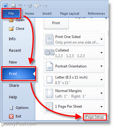 Micosoft Word 2010 Screenshot select the file > print menu from the backdrop and then click page setup in word 2010