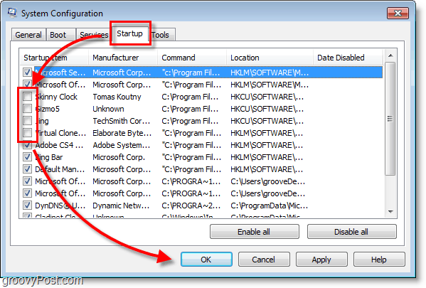 manually select  which programs you would like to disable from auto-start
