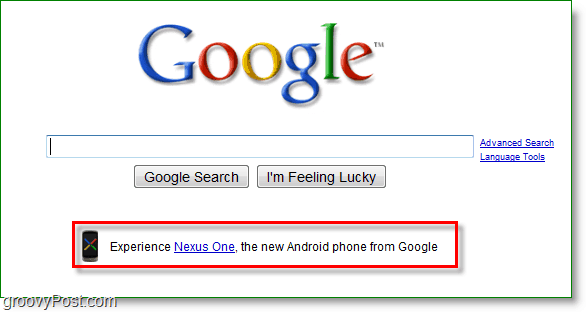 Nexus one being advertised on the google home page.