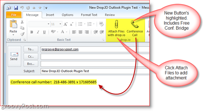 Drop.io Outlook Plugin Buttons on Ribbon Conference call number bridge