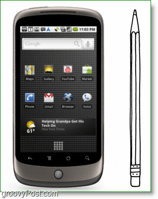 Google Nexus One is as tall/thick as a pencil