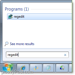 access regedit in windows 7 from the start menu