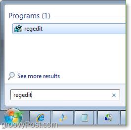 access regedit in windows 7 from the start menu