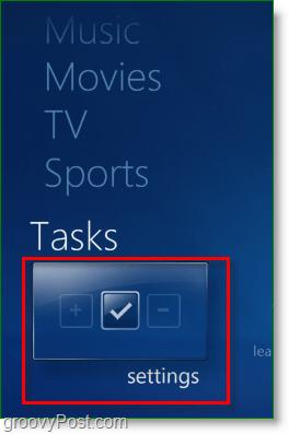 Windows 7 Media Center - click tasks > settings
