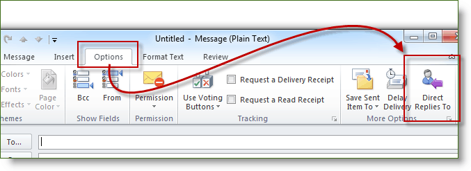 Click Options and Click Direct Replies to in Outlook 2010
