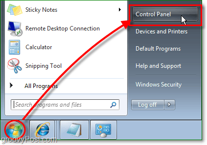 click the windows 7 start orb menu, then click the control panel to start removing IE